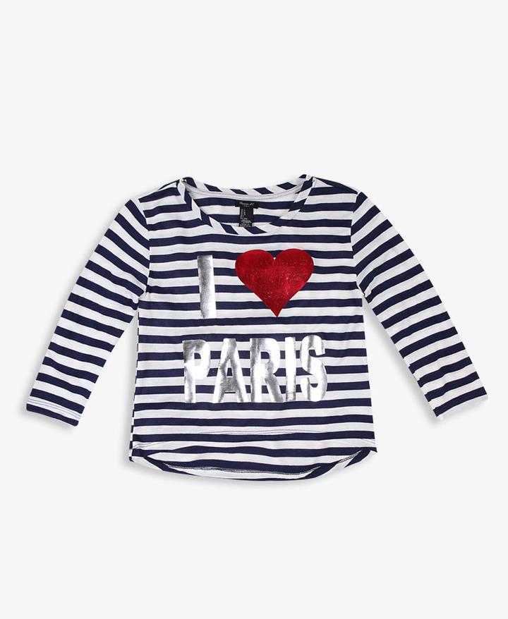 Forever 21 girls I Heart Paris Striped Tee