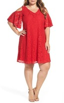 Gabby Skye Plus Size Women's Cold Shoulder Lace Trapeze Dress