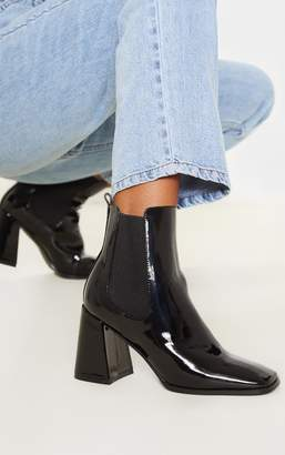 PrettyLittleThing Black Block Heel Square Toe Ankle Boot