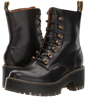 Dr. Martens Leona 7 Hook Boot (Black Vintage Smooth) Women's Shoes