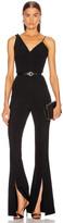 Cushnie Sleeveless Plunging Flare Jumpsuit in Black   FWRD
