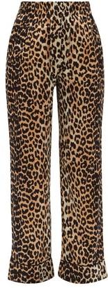 Ganni Leopard-print Silk-blend Trousers - Leopard