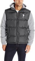 U.S. Polo Assn. Men's Puffer Vest with Fleece Sleeves and Hood