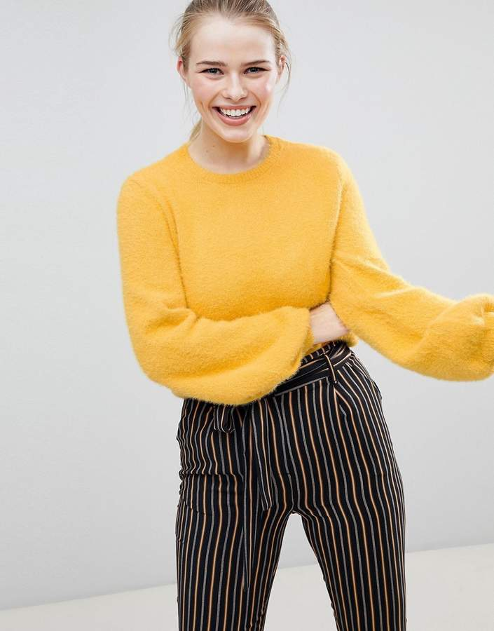 Bershka Blouson Sleeve Fluffy Jumper