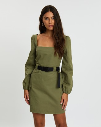 Missguided Square Neck Utility Belted Mini Dress