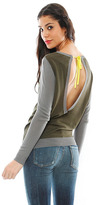 Shae Long Sleeve Keyhole Back Pullover in Army Combo