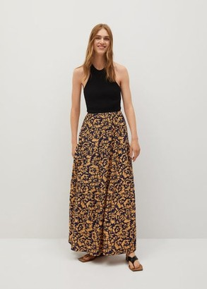 MANGO Printed midi skirt orange - XS - Women