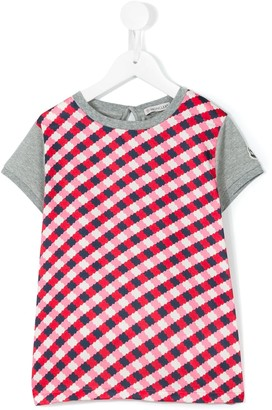 Moncler Enfant check panel T-shirt