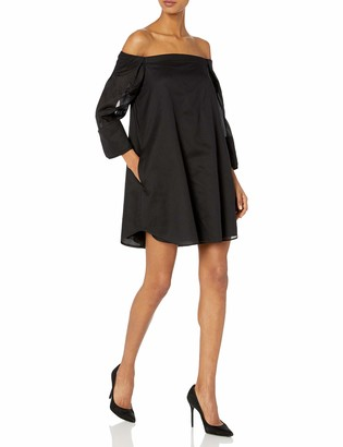 Halston Women's Wide Long Sleeve Dress with Cold Shoulder Detail