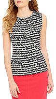 Calvin Klein Petites Pleat Neck Squiggle Stripe Print Matte Jersey Shell
