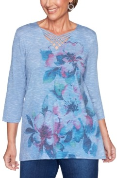 Alfred Dunner Petite Autumn Harvest Crisscross-Neck Tunic