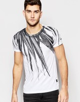 Replay T-Shirt Crew Neck Large Feather Print in White