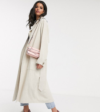 Asos DESIGN Tall luxe oversized linen trench coat in cream