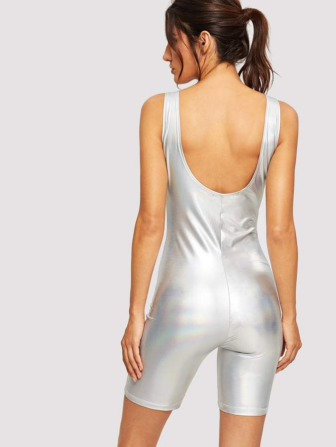 Low Back Metallic Tank Romper