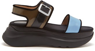 Mulberry Track Sporty Sandal Dark Palm and Pale Slate Smooth Calf