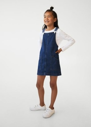 MANGO Dark denim pinafore dress