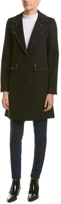 Sofia Cashmere Sofiacashmere Studded Wool-Blend Coat