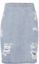 IRO Denimina Distressed Mini Skirt