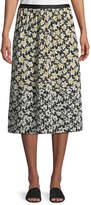 Joseph Oliver Daffodil-Print Silk Midi Skirt
