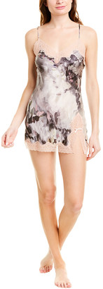 Samantha Chang Lace-Trim Silk Babydoll