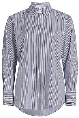 Derek Lam 10 Crosby Jessie Stripe Button-Sleeve Blouse