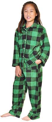 Angelina Sleep Bottoms Black - Black & Green Buffalo Check Pocket Fleece Pajama Set - Toddler & Kids