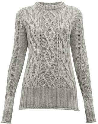 Thom Browne Stripe-trimmed Cable-knit Merino Wool Sweater - Womens - Grey Multi