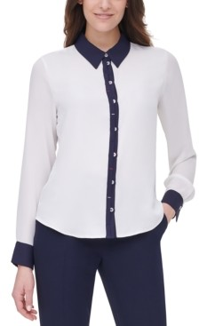 Tommy Hilfiger Collared Button-Down Blouse