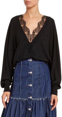Chloé Lace V-Neck Wool-Silk Sweater