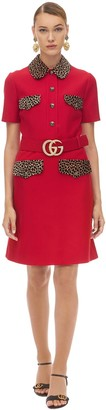 Gucci Belted Crepe Cady Dress W/Leo Details