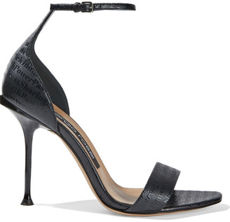 Sergio Rossi Sr Milano Embossed Leather Sandals