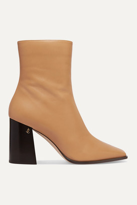 Jimmy Choo Bryelle 85 Leather Ankle Boots - Beige
