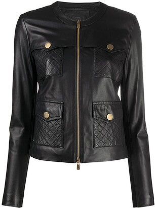 Pinko Quilted-Pocket Leather Jacket