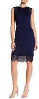 Donna Ricco Lace Trim Midi Dress