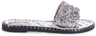 Linzi SKYE - Silver Heavily Embellishes Diamante Slip On Slider