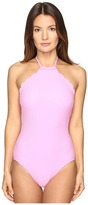 Kate Spade Marina Piccola Scalloped High Neck One-Piece Women's Swimsuits One Piece