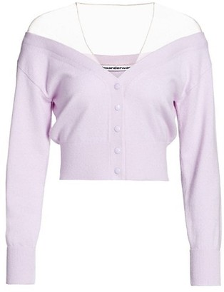 Alexander Wang Fitted Cropped Cardigan With Sheer Yoke