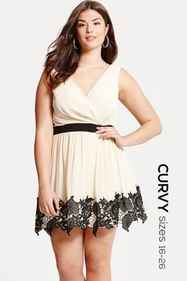 Little Mistress Curvy Cream and Black Lace Border Mini Dress