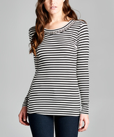 Tua Black & White Stripe Long-Sleeve Top