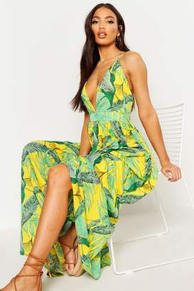 boohoo Plunge Front Palm Print Maxi Dress