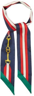 Gucci Horsebit-print Slim Silk Scarf - Navy