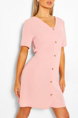 boohoo Woven Button Through Shift Dress