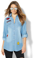 New York & Co. Soho Jeans - Denim Shirt with Patches - Dark Blue Wash