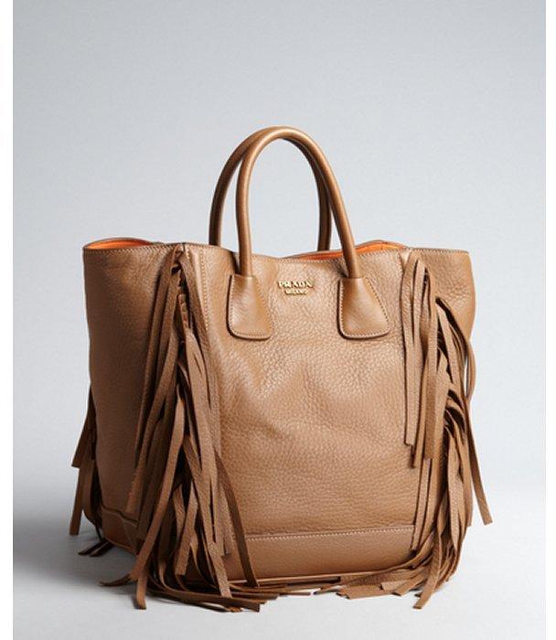 Prada camel leather tasseled top handle bag