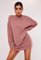 Missguided Rose Rib High Neck Jumper Dress