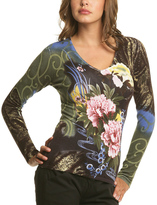 Le Mieux Green & Floral Long Sleeve Top