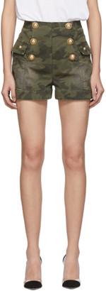 Balmain Green Denim Camouflage 6-Button Shorts