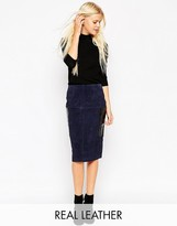 Asos Suede Pencil Skirt With Patent Leather Pockets