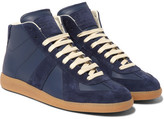 Maison Margiela Replica Suede And Leather High-top Sneakers - Blue