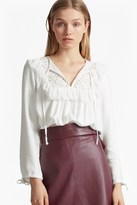French Connection Ariana Sheer Tie Neck Blouse